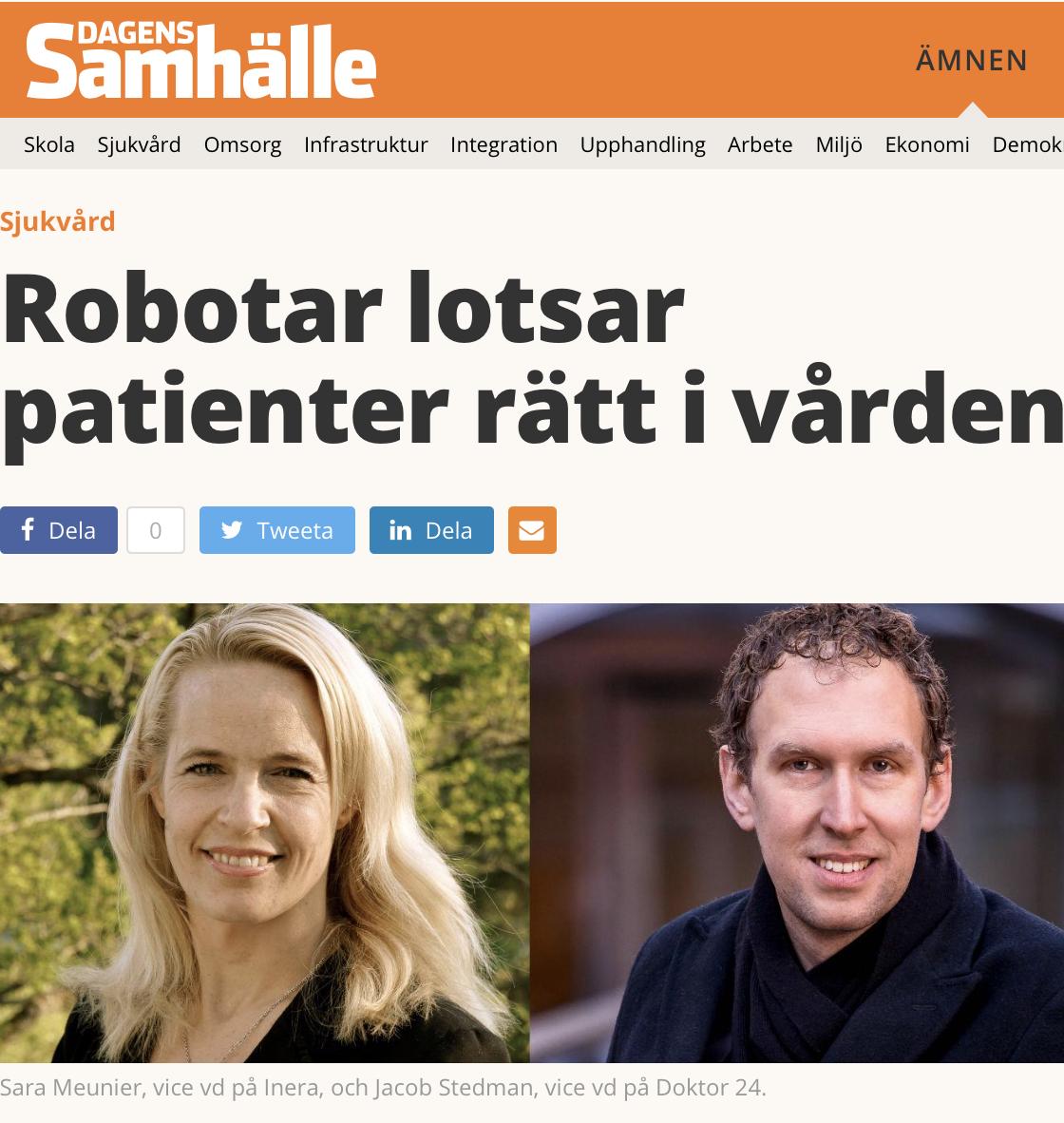 Dagens Samhälle: Robotar lotsar patienter rätt i vården